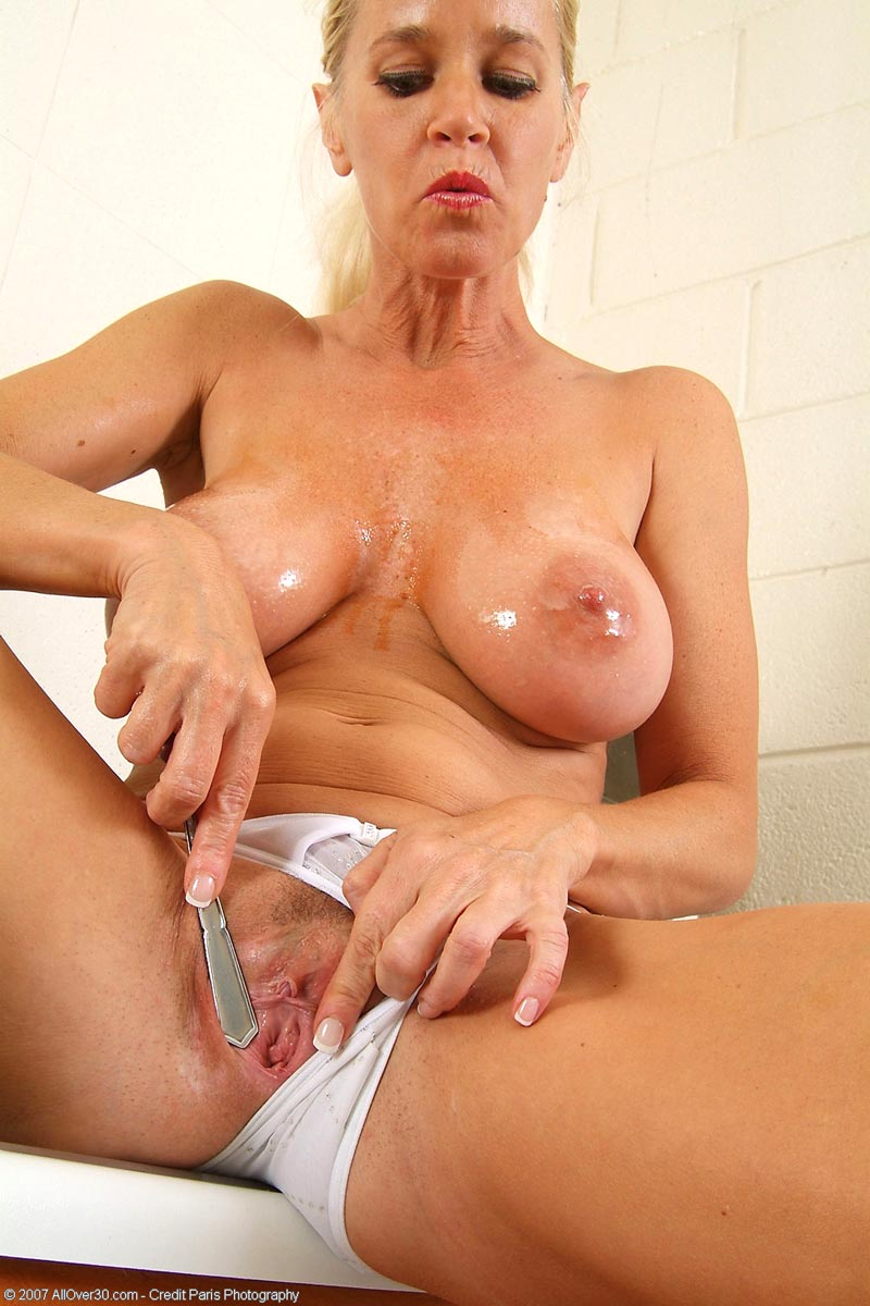 Milf toying her wet pussy and ass with this fake dick 8